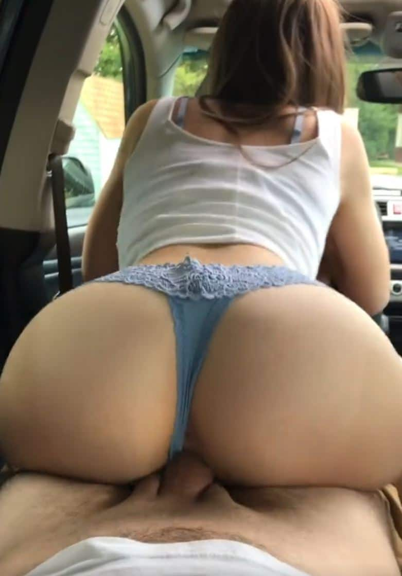 Horny girl riding it in the backseat
